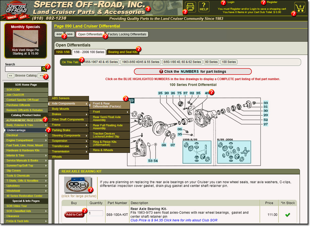 Image of typical Specter Off-Road catalog page